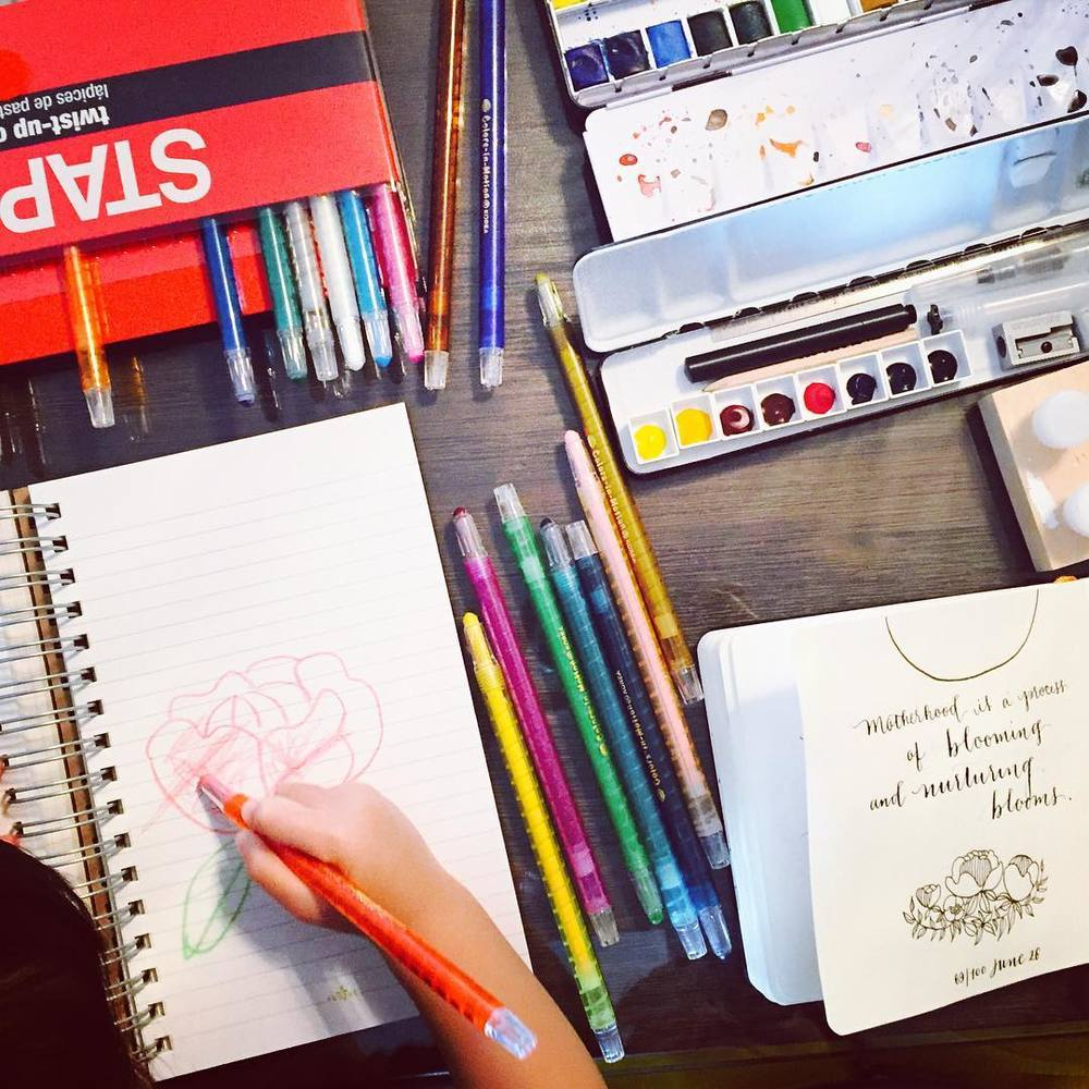 As shared on my Instagram feed on June 27, 2016, this was my kitchen table aka workspace over the weekend, when my daughter and I drew and colored together. Most days I wake up very early before work to write or draw #pearls100daymomproject2016 in my sketchbook, other times we use our right brains together side by side! Inspired by @etsy seller @ruth_oosterman to share what it's like to find time as a creative mum. My workspace is minimal and I don't have all the tools but I do what I can to have 20-30 mins to use my fine motor skills.