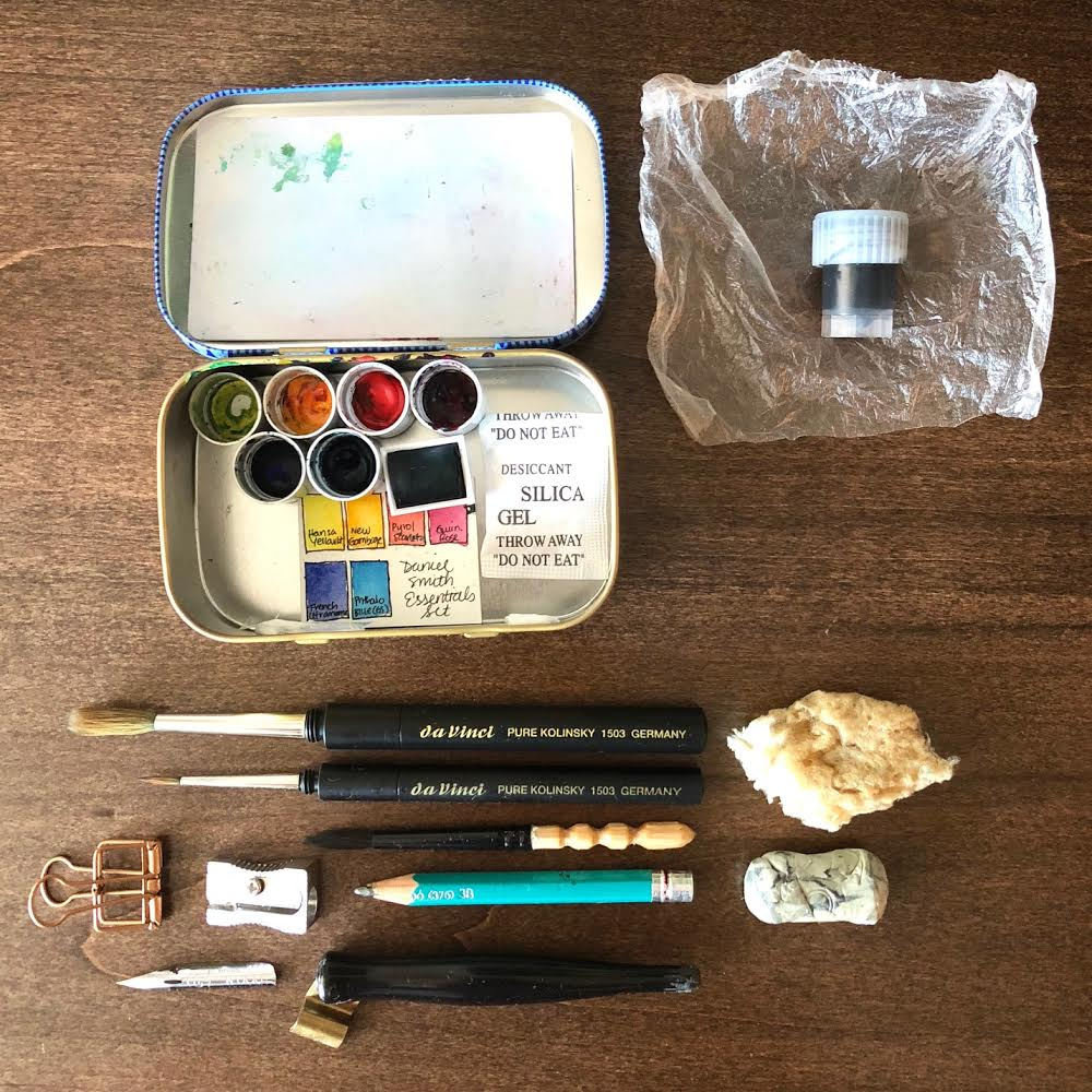 Instead of putting my paints in  half pans , I put them in lip balm caps. And that piece of Glad  Press'n Seal  is the perfect wrapper for my small  Dinky Dip  of ink just in case of any leaks.