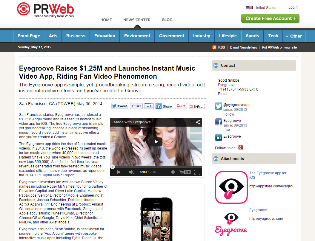 Eyegroove Raises $1 25M and Launches Instant Music Video App, Riding