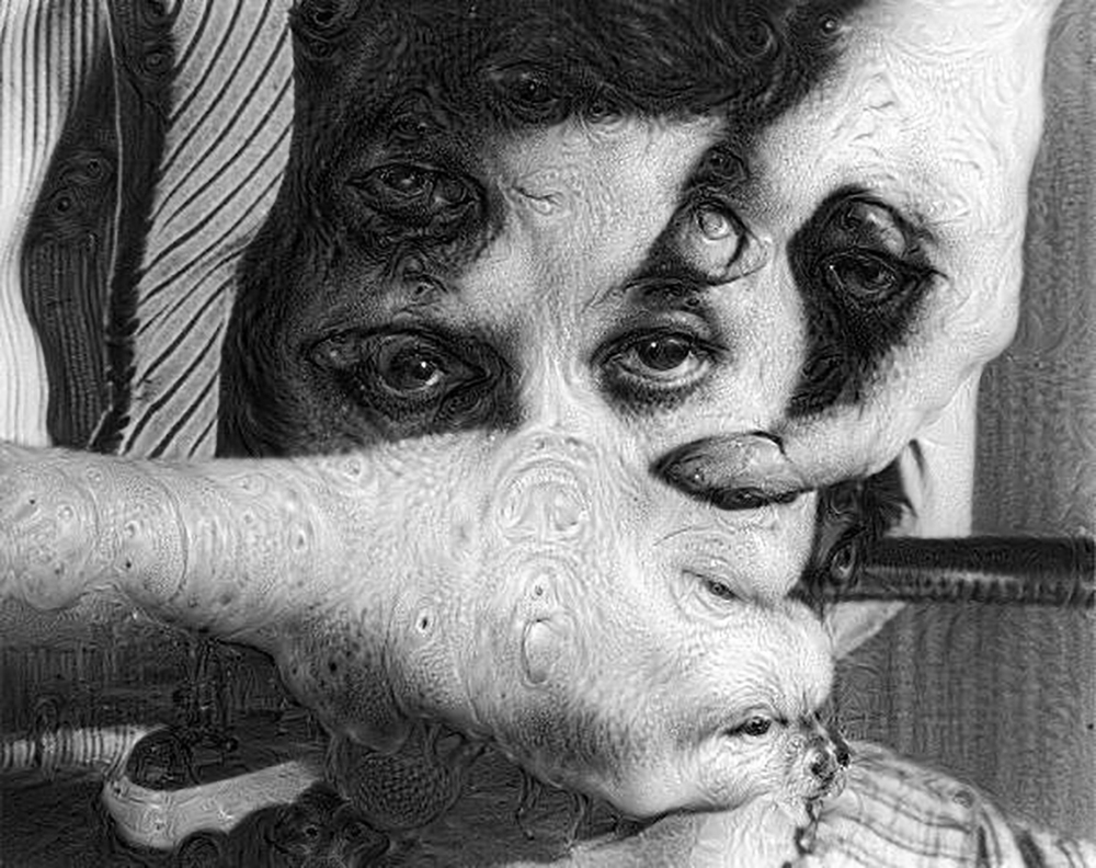 #deepdream still from Un Chien Andalou, Salvador Dalí and Luis Buñuel, 1929