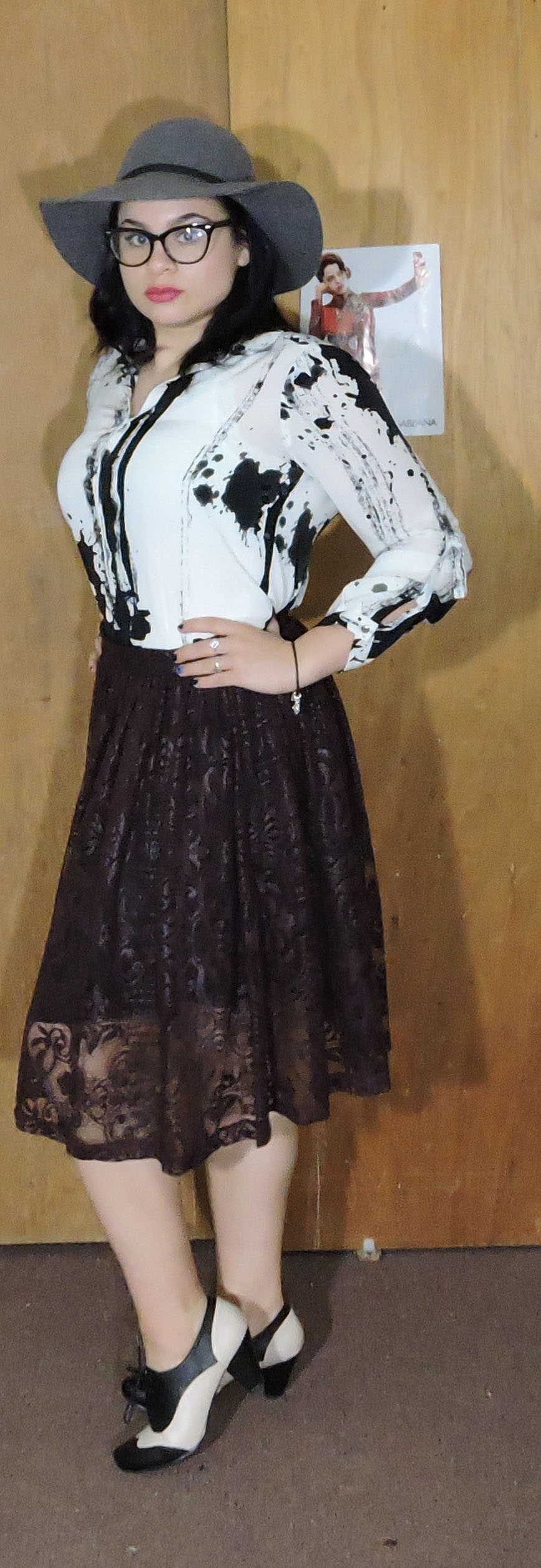 paint shirt with laser cut skirt and black hat.jpg