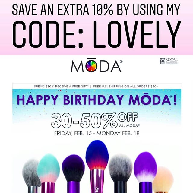 My FAVE brush company, @modabrush is having a HUGE SALE starting this FRIDAY!! . Take advantage and make sure to use my code LOVELY to get an extra 10% off!!!!!