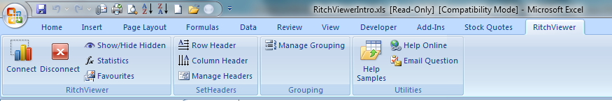 RitchViewer Excel Menu Bar
