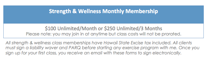 Strength & Wellness group pricing
