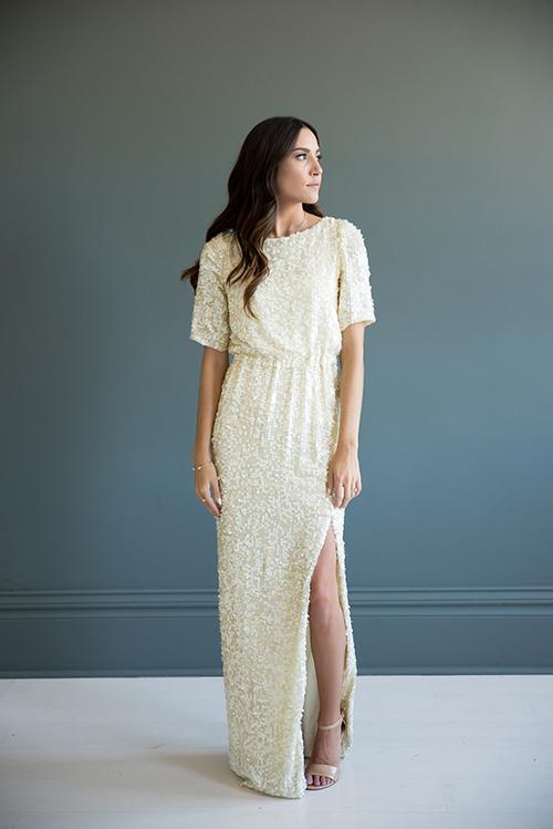 Cream Sequin Wedding Gown — Bree Lena