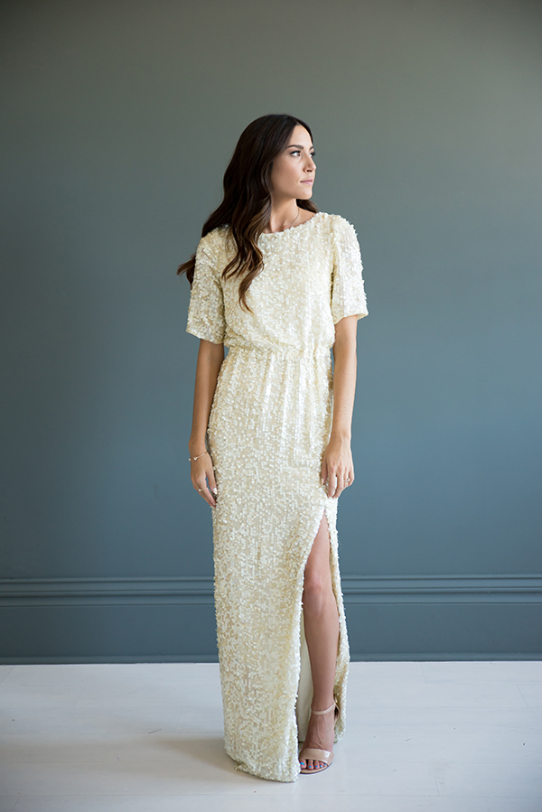 Cream Sequin Wedding Gown — Bree Lena