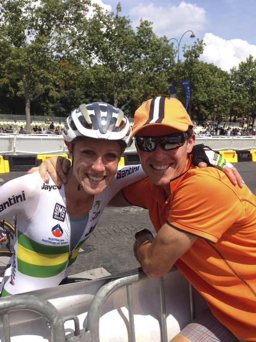 This fab pic was taken immediately after LaCourse in Paris after the inaugural Womens Race in the 2014 Tour de France. Having a    pro   cyclingtours group lining the Champs every lap cheering for me and hugs over the barrier after the race was incredibly special!   Thank you Steve and Michelle for your belief and support, bring on 2015!