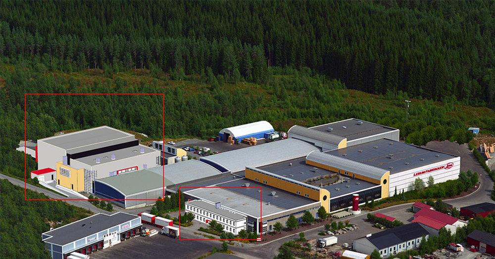 NY FABRIKK OG KONTOR: Lerum investerer ein kvart milliard i nye produksjonslokale og eit administrasjonskontor ved den eksisterande fabrikken på Kaupanger. Tilbygga er markert i raudt. Foto/Illustrasjon:Lerum.