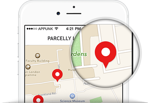 Parcelly Mobile App - Choose a location