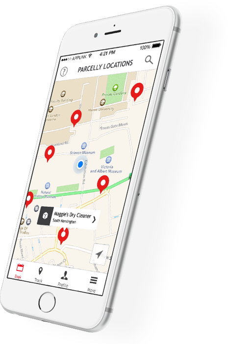 Parcelly Mobile App - Select a location