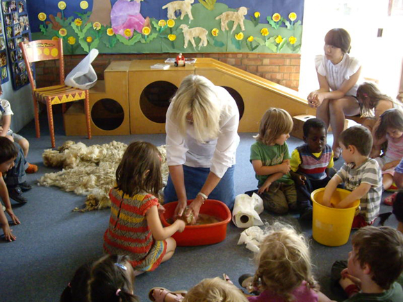 A local farmer has supplied a whole sheep's fleece which we use as a teaching resource to show the children how to wash, dye and weave with wool on little looms made from willow branches
