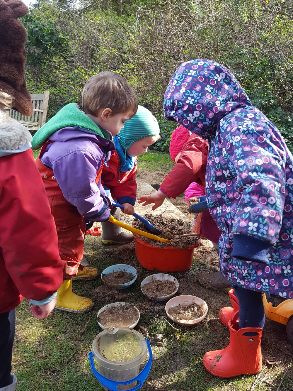 A joyful mud pie play session was enjoyed immensely!