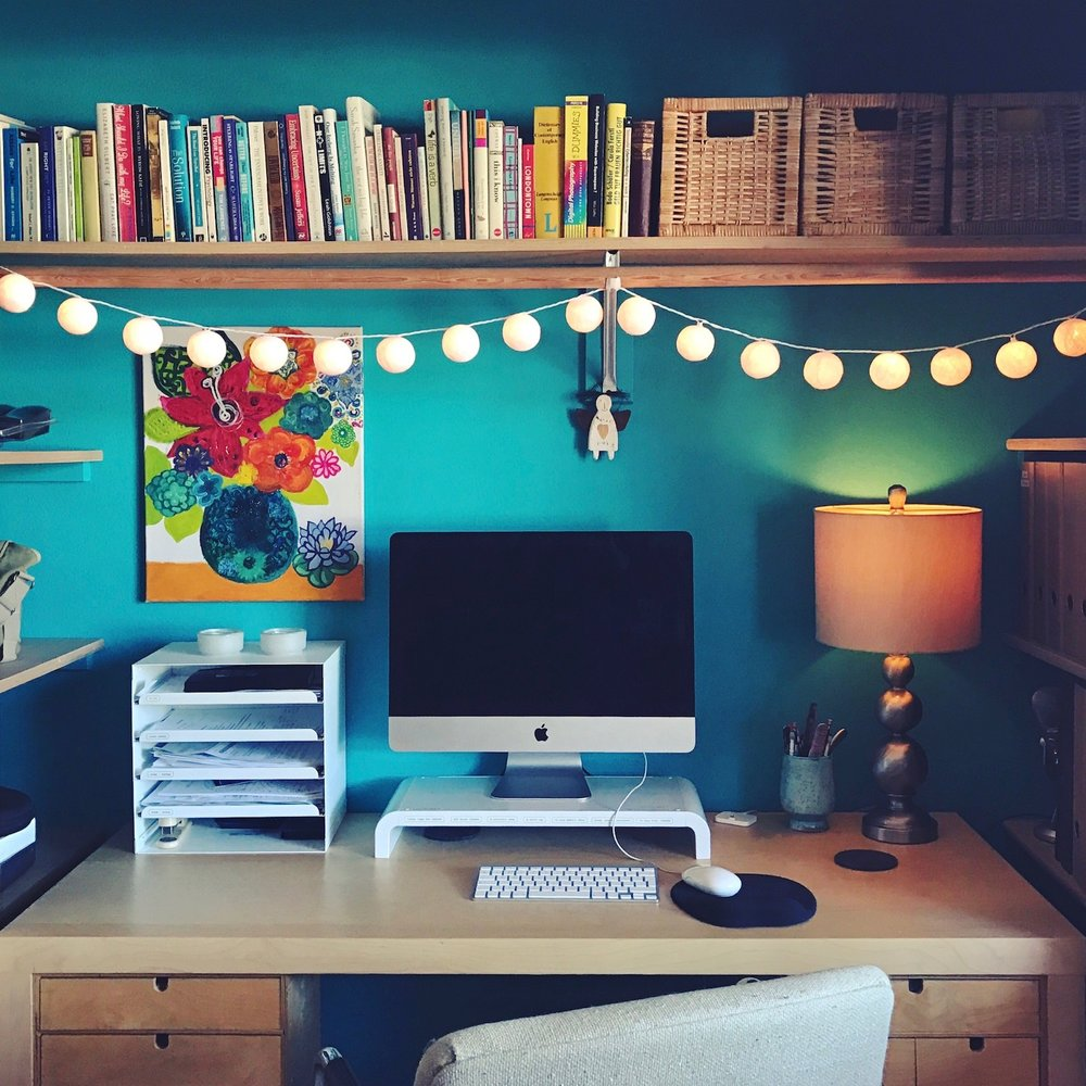 I moved my desk into the closet and painted my office wall!