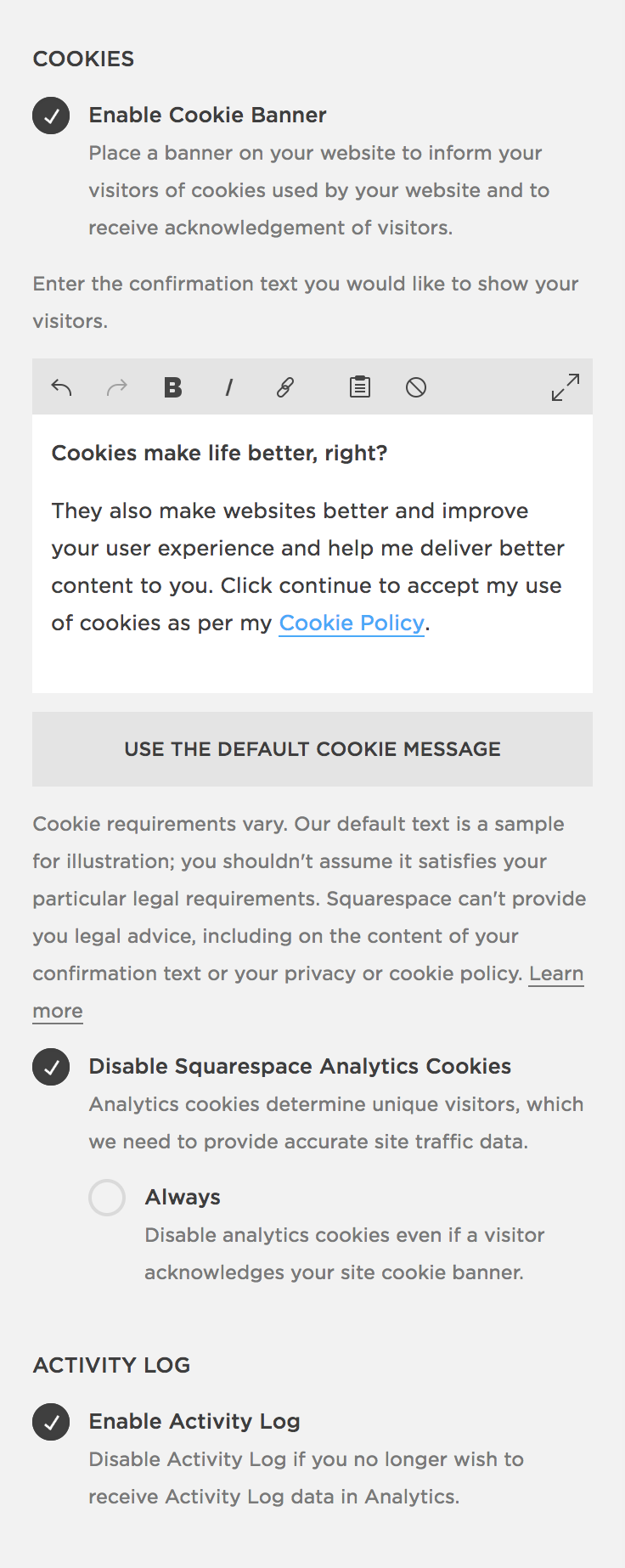 Squarespace Cookie Banner Settings・Kerstin Martin Squarespace Studio