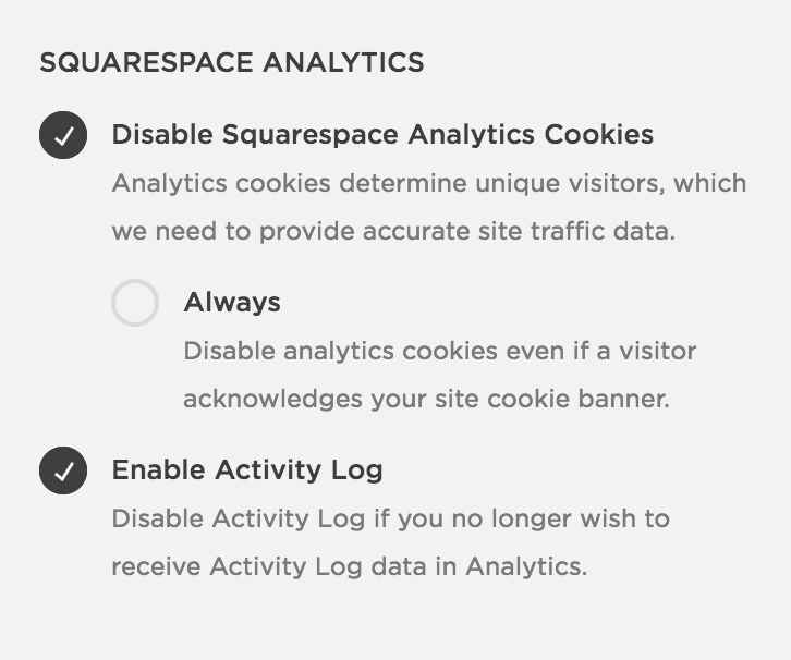 Squarespace Cookie Banner Settings