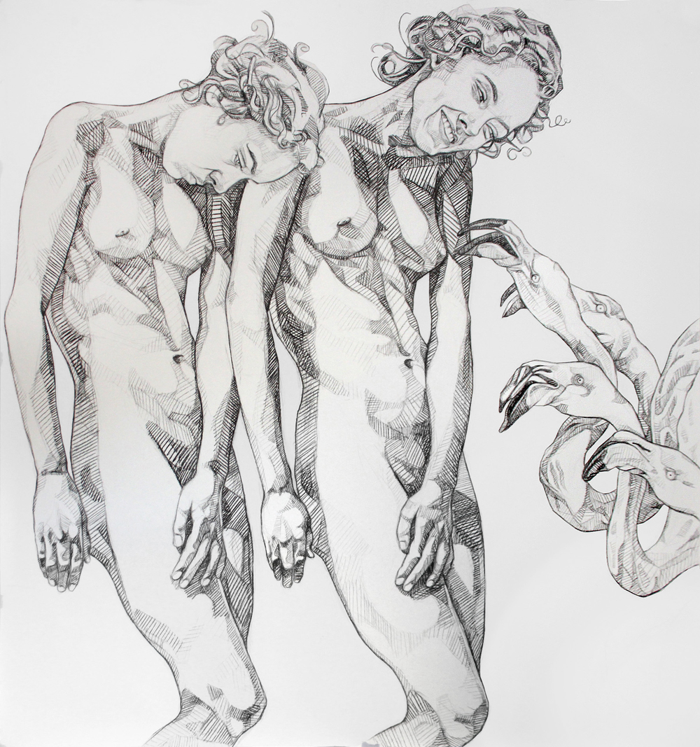 "© Amartey Golding ""Women and Flamingos"" charcoal on paper 160cm x 150cm"