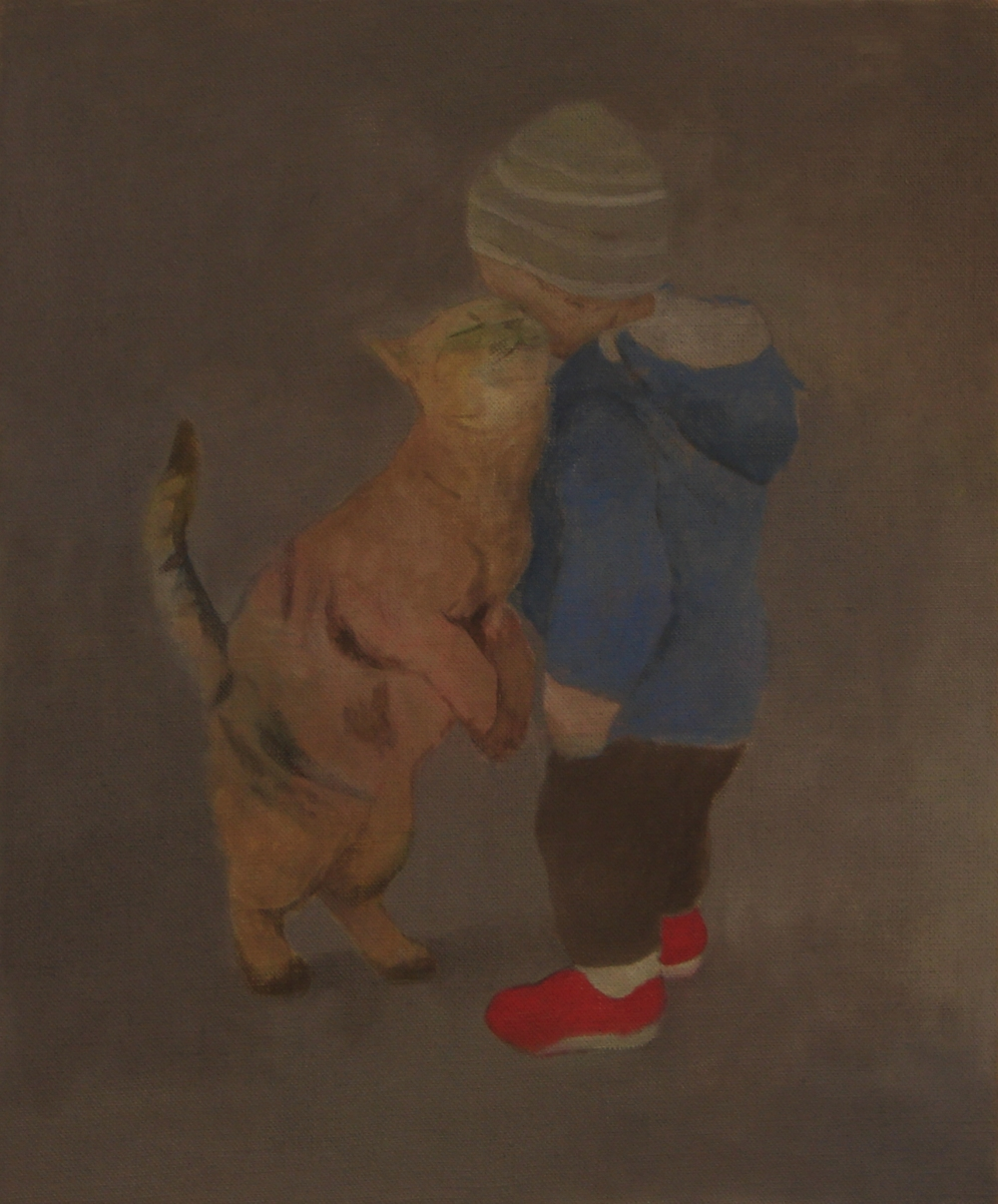 "Ben Walker ""Kluk a jeho koťátko"" (Boy and his little cat) oil on linen 51cmx61cm £800"