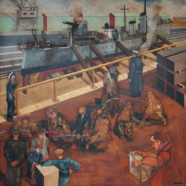 'Running the Docker' Mixed media 120x120cm £3950 SOLD