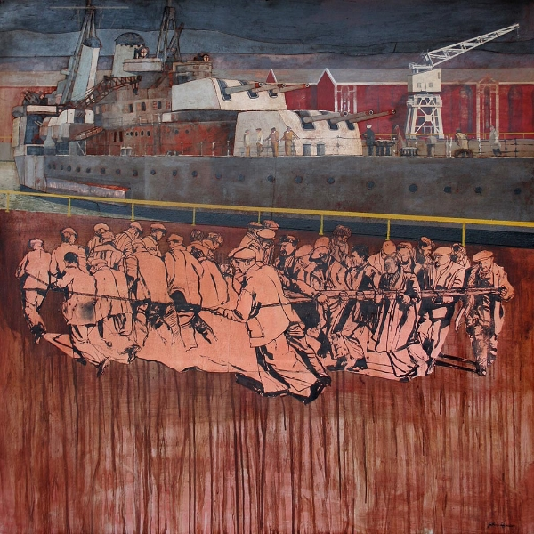 'Working the Sluicegate Portsmouth Dockyard' Mixed media 120x120cm £3950