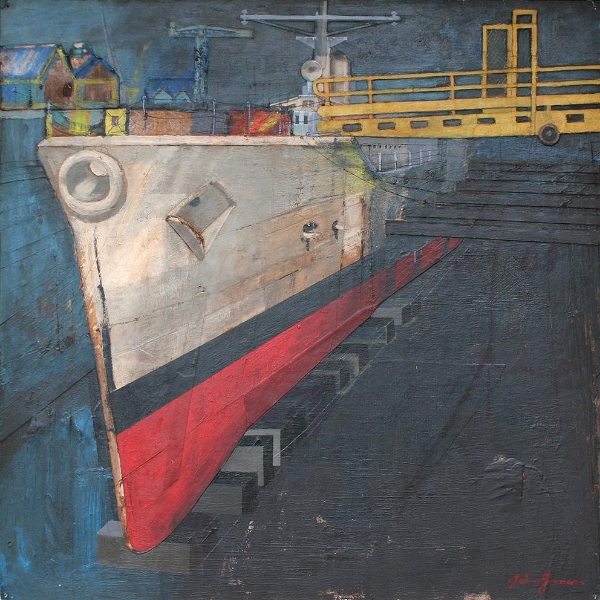 'H.M.S. Falmouth in Dry Dock' Mixed media 60x60cm £2400