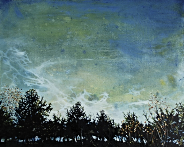 ©Ann Quinn 'Sky View Through A Hedge At Dusk, Pyrenees' oil on panel, 39cmx32cm £800