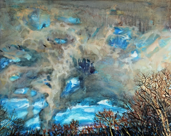 ©Ann Quinn 'Storm Gathers, Downpour of Birds' oil on panel, 50cmx40cm £1030