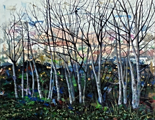 ©Ann Quinn 'Day Dim, Trees Sigh For Night' oil on panel, 45cmx35cm £1060