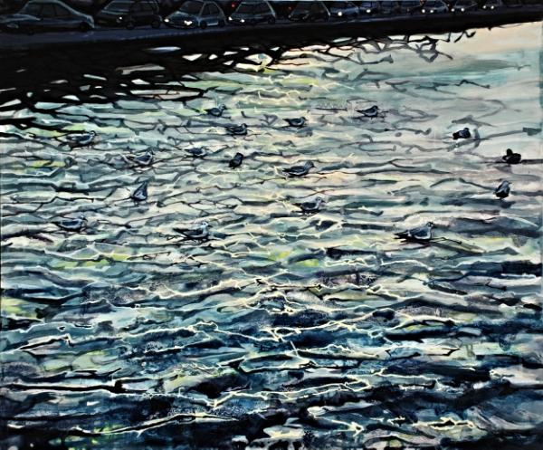 ©Ann Quinn 'Traffic at Portobello Bridge, Dublin' oil on panel, 60cmx50cm £1650