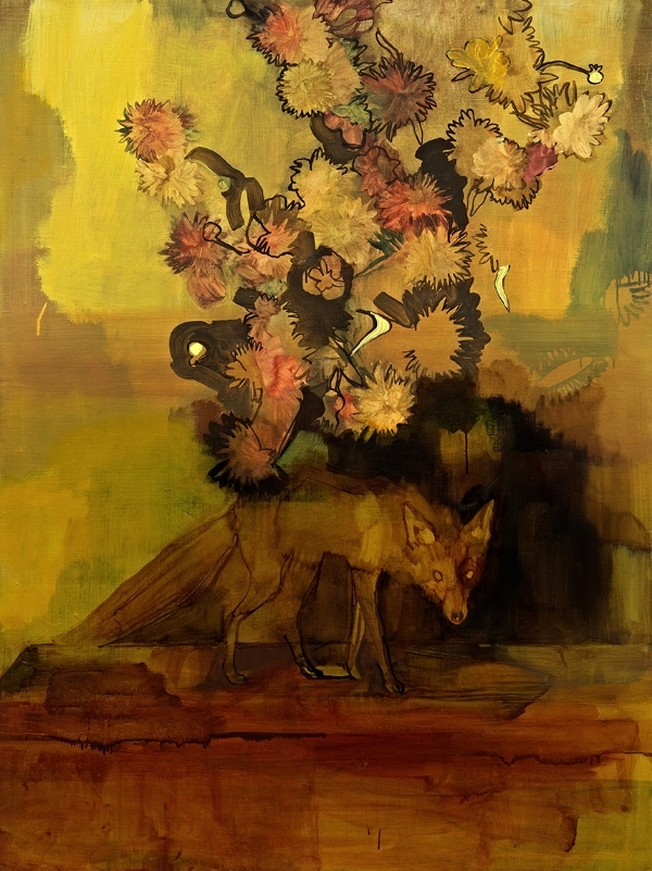 "©Rachel Levitas ""Fox with Dahlias VII"""