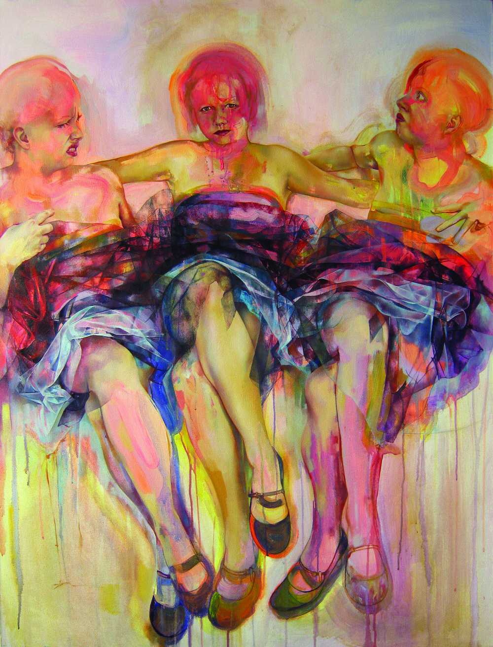 Triple Self Portrait 100x130cm Oil & Acrylic on canvas