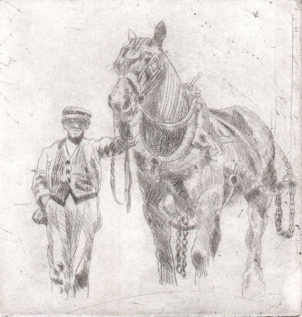 'Dockyard Horse' Drypoint A/P Image 14.5x14cm Mount 30x40cm £190