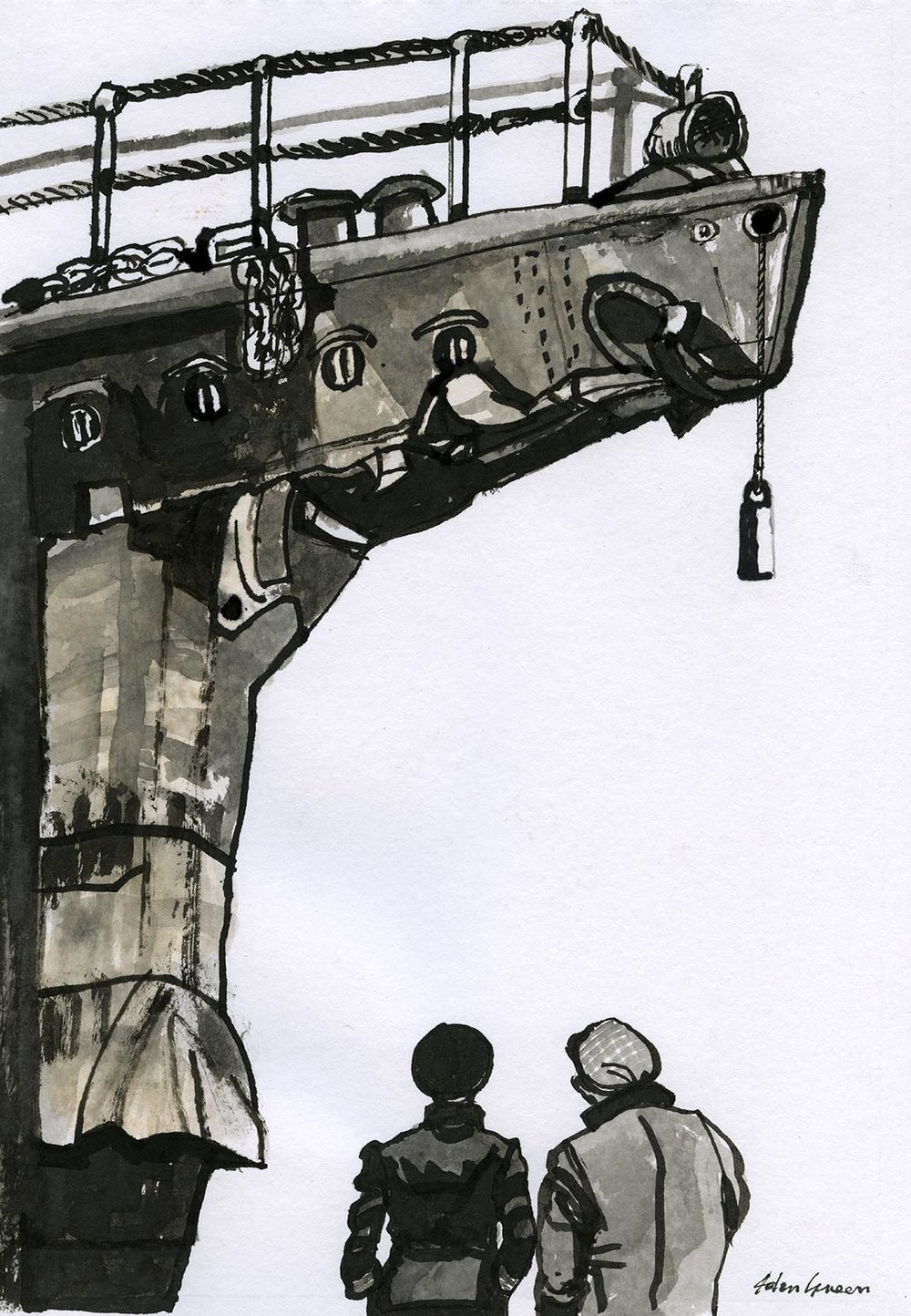 'HMS Tartar' Ink & Watercolour Image 20x28cm Mount 30x40cm
