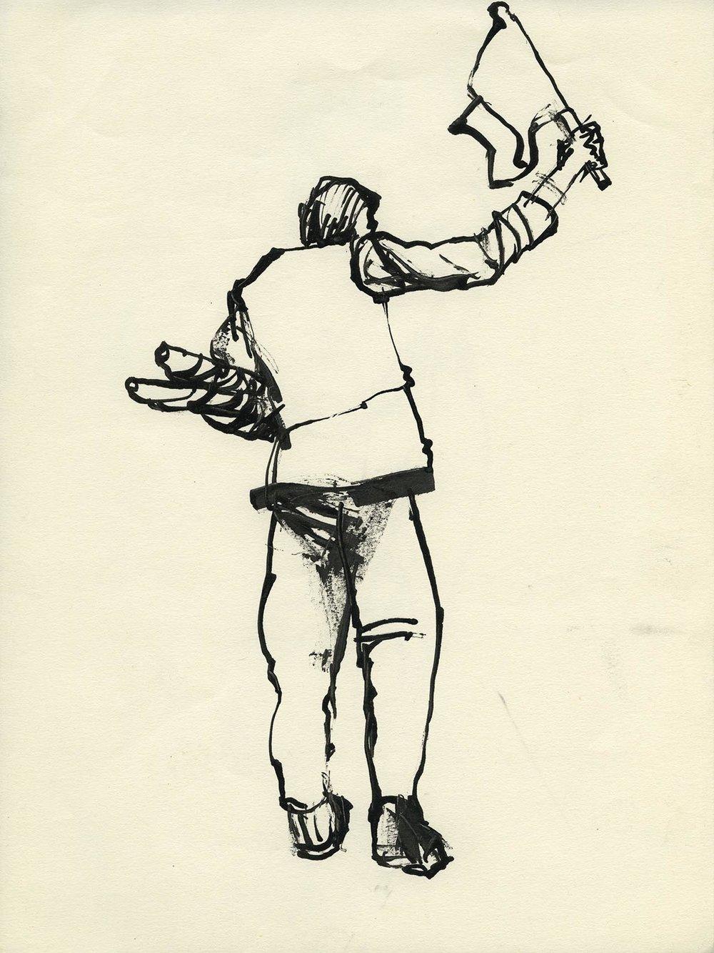 'Signalman' Ink drawing Image 16x22cm Mount 30x40cm £195