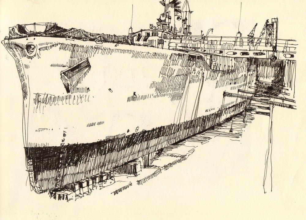 'Leander' Ink drawing Image 29x20cm Mount 30x40cm £210