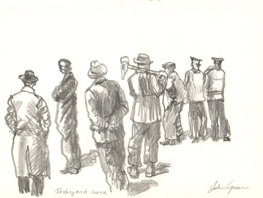 'Dockyard Scene' Graphite drawing Image 26x17cm Mount 30x40cm £190