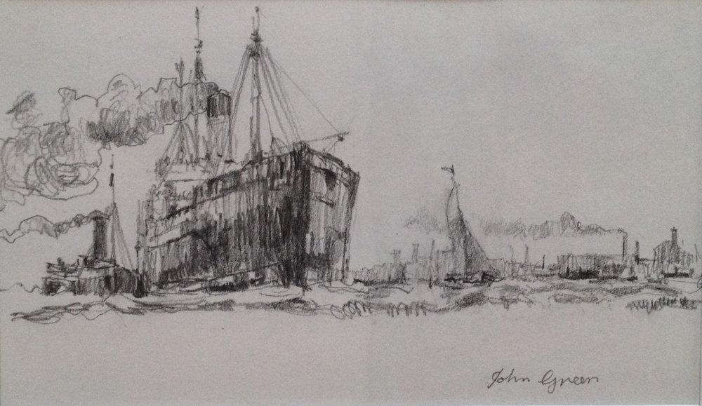 'Entering Port' Pencil drawing Image 19x11cm Mount 30x40cm £160