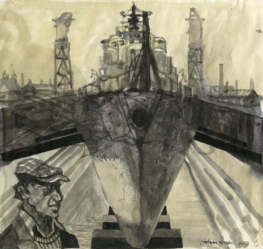 'Dockyard Study Dry Dock' Watercolour Image 20x16cm Mount 30x40cm £200