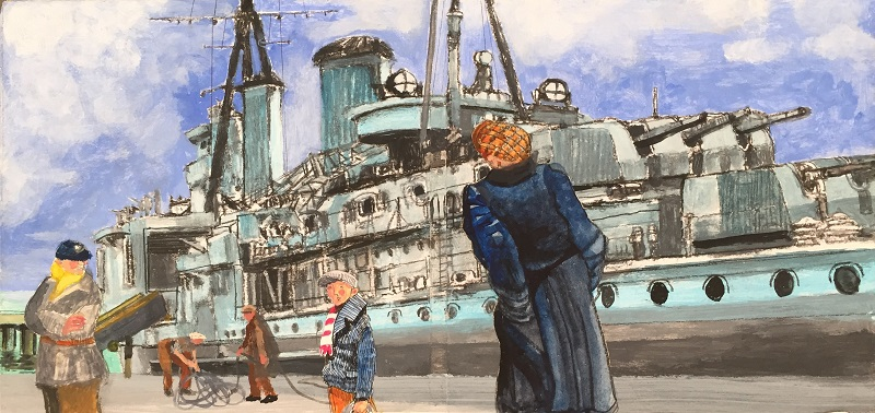 HMS Sheffield mixed media 37x19cm £420