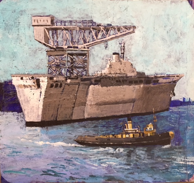 Great Crane, Ship & Tug acrylic on board 24x22cm £390