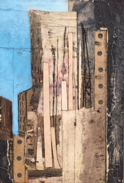 Abstract Dockyard mixed media 18x26cm £250 framed