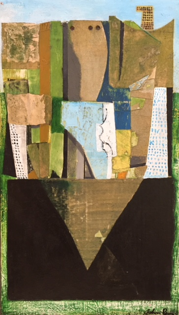 Green Abstract mixed media on board £25x44cm £410 framed