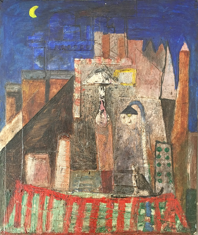 Roof Top Cat mixed media collage 27x32cm £390