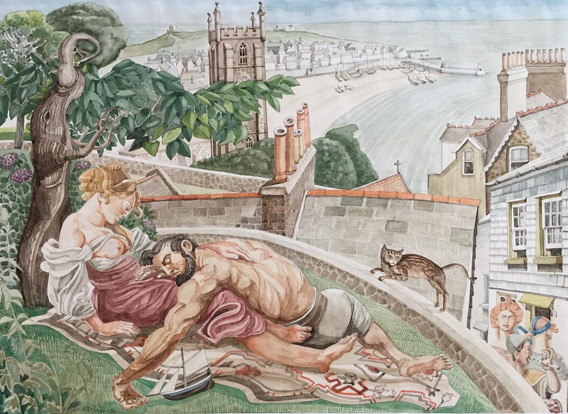 Samson & Delilah in St Ives watercolour 38x27cm (frame 53x42cm) £500