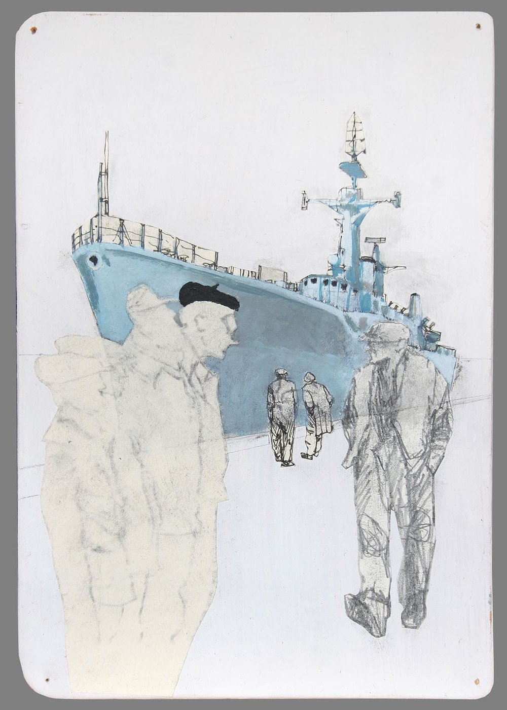 HMS Andromeda mixed media on board 21x29cm £320 framed SOLD