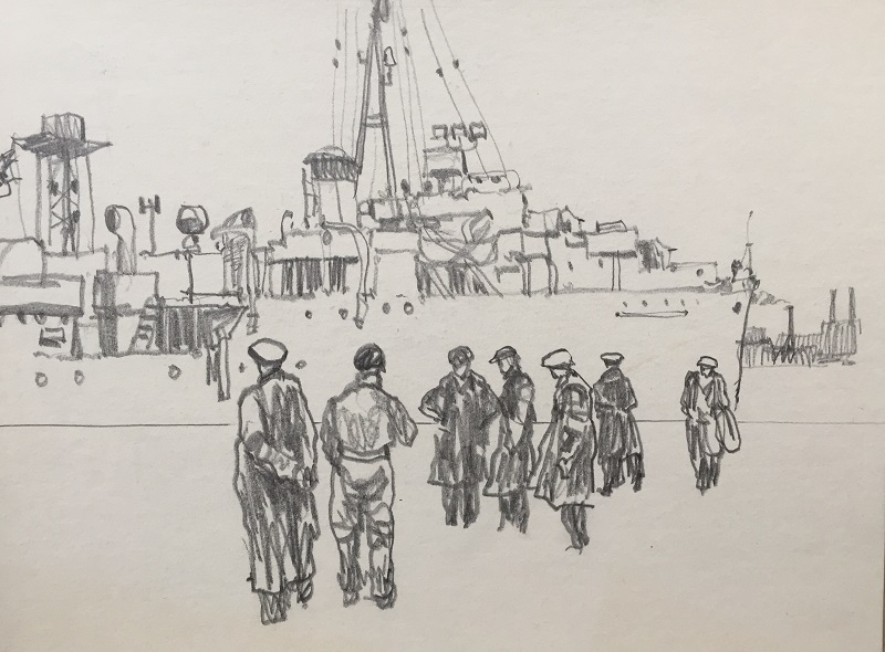 Ship Alongside Graphite drawing 27x19cm Framed 40x30cm £210