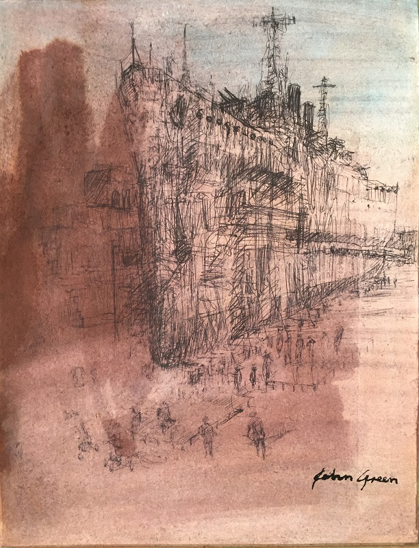 Ship Alongside Pen and wash 22x17cm £210 SOLD