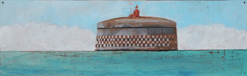 Spithead Fort acrylic on board 41x12.5cm frame 56x28cm £290