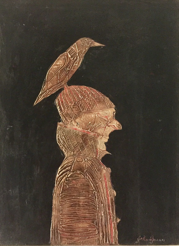 Bird on a Beanie mixed media on board 45.5x61cm £500