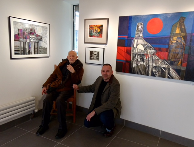 Greenwich Printmaker Kit Boyd came along to the Gallery after the talk to catch up with an artistic hero Garrick Palmer.