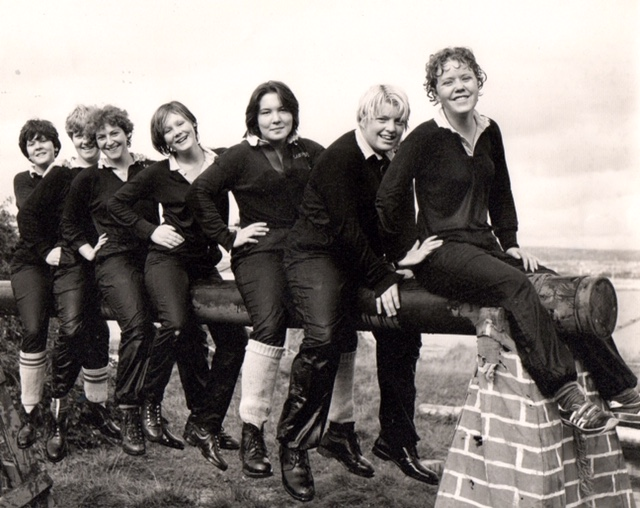 Photo from the early 1980s of the first female shipwrights in the Dockyard